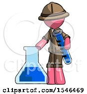 Pink Explorer Ranger Man Holding Test Tube Beside Beaker Or Flask