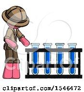Pink Explorer Ranger Man Using Test Tubes Or Vials On Rack