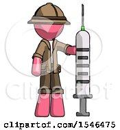 Pink Explorer Ranger Man Holding Large Syringe