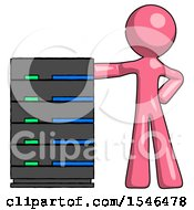 Pink Design Mascot Man With Server Rack Leaning Confidently Against It