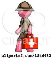 Pink Explorer Ranger Man Walking With Medical Aid Briefcase To Left