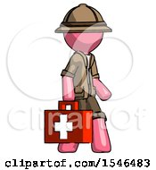 Pink Explorer Ranger Man Walking With Medical Aid Briefcase To Right