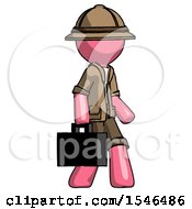 Pink Explorer Ranger Man Walking With Briefcase To The Right