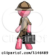 Pink Explorer Ranger Man Walking With Briefcase To The Left