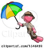 Pink Explorer Ranger Man Flying With Rainbow Colored Umbrella