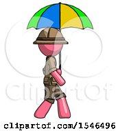 Pink Explorer Ranger Man Walking With Colored Umbrella