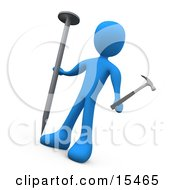 Confused Blue Person Holding A Large Nail And A Tiny Hammer Trying To Accomplish A Difficult Task Clipart Illustration Image