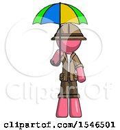 Pink Explorer Ranger Man Holding Umbrella Rainbow Colored
