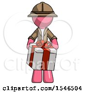 Pink Explorer Ranger Man Gifting Present With Large Bow Front View
