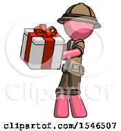 Pink Explorer Ranger Man Presenting A Present With Large Red Bow On It