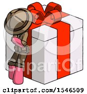 Pink Explorer Ranger Man Leaning On Gift With Red Bow Angle View