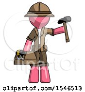 Pink Explorer Ranger Man Holding Tools And Toolchest Ready To Work