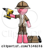 Pink Explorer Ranger Man Holding Drill Ready To Work Toolchest And Tools To Right