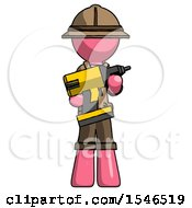 Pink Explorer Ranger Man Holding Large Drill