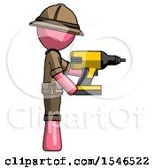 Pink Explorer Ranger Man Using Drill Drilling Something On Right Side
