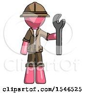 Pink Explorer Ranger Man Holding Wrench Ready To Repair Or Work