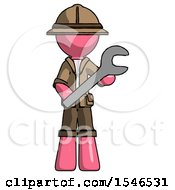 Pink Explorer Ranger Man Holding Large Wrench With Both Hands