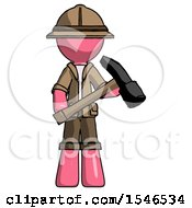 Pink Explorer Ranger Man Holding Hammer Ready To Work