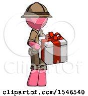 Pink Explorer Ranger Man Giving A Present