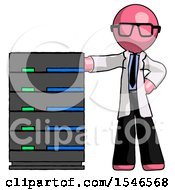 Pink Doctor Scientist Man With Server Rack Leaning Confidently Against It