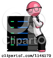 Pink Doctor Scientist Man Resting Against Server Rack Viewed At Angle