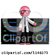 Pink Doctor Scientist Man With Server Racks In Front Of Two Networked Systems