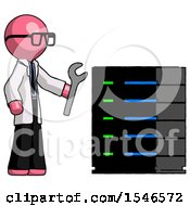 Pink Doctor Scientist Man Server Administrator Doing Repairs