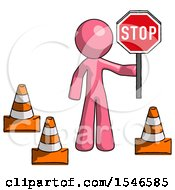 Pink Design Mascot Man Holding Stop Sign By Traffic Cones Under Construction Concept