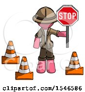 Pink Explorer Ranger Man Holding Stop Sign By Traffic Cones Under Construction Concept