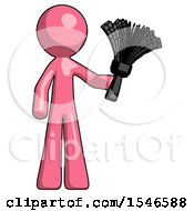 Pink Design Mascot Man Holding Feather Duster Facing Forward