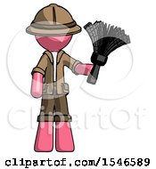 Pink Explorer Ranger Man Holding Feather Duster Facing Forward