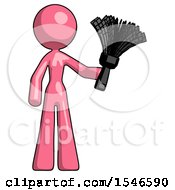 Pink Design Mascot Woman Holding Feather Duster Facing Forward