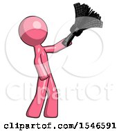 Pink Design Mascot Man Dusting With Feather Duster Upwards