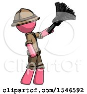 Pink Explorer Ranger Man Dusting With Feather Duster Upwards
