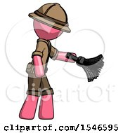 Pink Explorer Ranger Man Dusting With Feather Duster Downwards