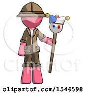 Pink Explorer Ranger Man Holding Jester Staff