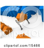 Two People Moving Their Orange Home From A Small Neighborhood Into A Big Blue City Symbolizing Relocation And Promotions Clipart Illustration Image