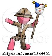 Pink Explorer Ranger Man Holding Jester Staff Posing Charismatically