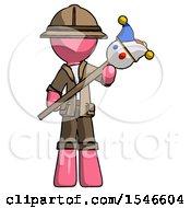 Pink Explorer Ranger Man Holding Jester Diagonally