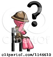 Pink Explorer Ranger Man Question Mark Concept Sitting On Chair Thinking