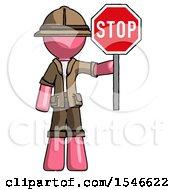Pink Explorer Ranger Man Holding Stop Sign