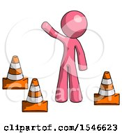 Pink Design Mascot Man Standing By Traffic Cones Waving