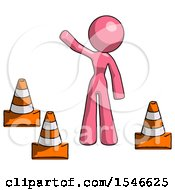 Pink Design Mascot Woman Standing By Traffic Cones Waving