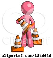 Pink Design Mascot Man Holding A Traffic Cone