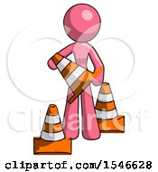 Pink Design Mascot Woman Holding A Traffic Cone