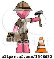 Pink Explorer Ranger Man Under Construction Concept Traffic Cone And Tools