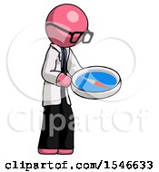 Pink Doctor Scientist Man Looking At Large Compass Facing Right