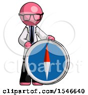 Pink Doctor Scientist Man Standing Beside Large Compass