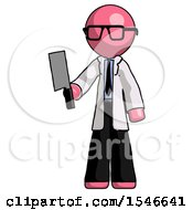 Pink Doctor Scientist Man Holding Meat Cleaver