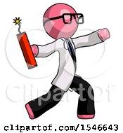 Pink Doctor Scientist Man Throwing Dynamite